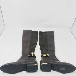 Michael Kors Hamilton Stretch Brown Leather Boots